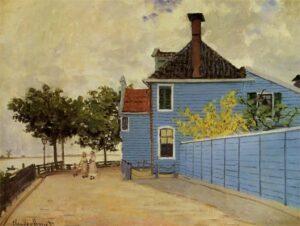 The blue house in Zaandam. Olieverfschilderij door Claude Monet, 1871. Wikimedia Commons.